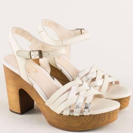 Бежови дамски сандали на висок ток от естествена кожа 766861bj