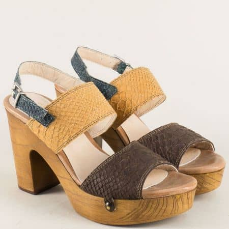 Български дамски сандали в тъмно кафяво, кафяво и синьо 766862ps