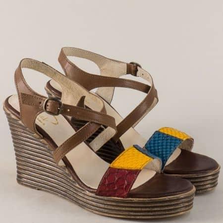 Дамски сандали в бордо, жълто синьо и тъмно кафяво 766923kk