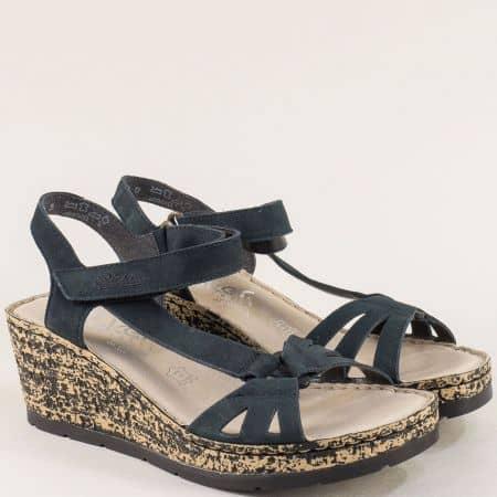 Сини дамски сандали на клин ходило от естествен набук 7671s