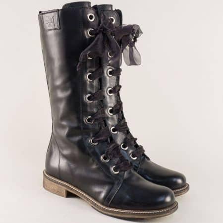 Черни дамски ботуши със сатенени връзки на нисък ток 771785ch