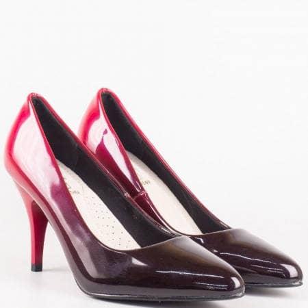 Елегантни дамски обувки от еко лак в цвят бордо 7725lbd