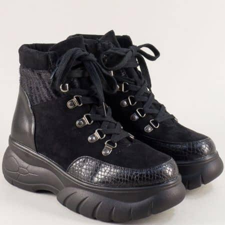 Зимни дамски обувки на платформа в черен цвят 772ch