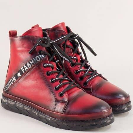 Червени дамски боти на равно ходило от естествена кожа 773324chv