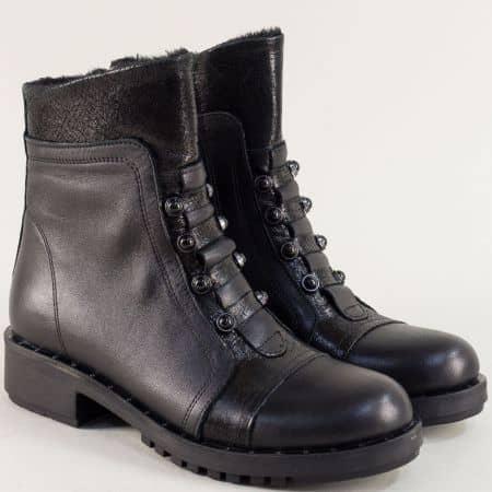 Черни дамски боти с цип на нисък ток от естествена кожа 7750ch