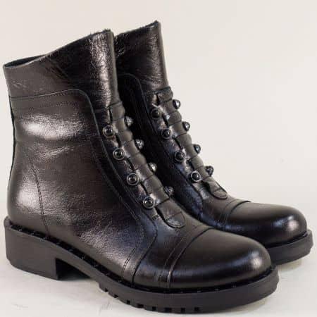 Дамски боти от естествена кожа с топъл хастар в черно 7750ch1
