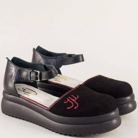Дамски сандали на платформа в бордо и черно 776763chbd