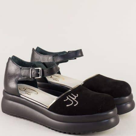 Дамски сандали в черно и бронз от естествен велур и кожа 776763chbrz