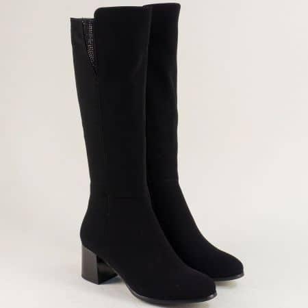 Черни дамски ботуши на среден ток с декорация- ELIZA 777625ch