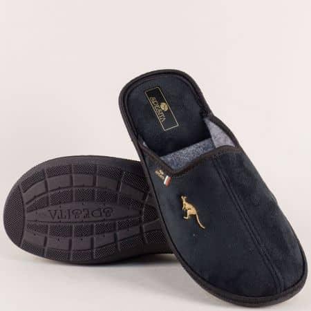 Черни мъжки пантофи на равно и комфортно ходило 778-45ch