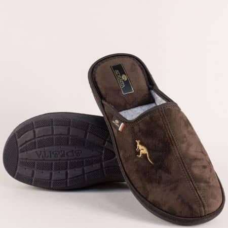 Тъмно кафяви мъжки пантофи на комфортно ходило 778-45kk