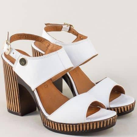 Дамски сандали на висок ток от бяла естествена кожа 7812b