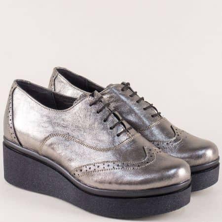 Дамски обувки на платформа от естествена кожа в сребро 7817663sr
