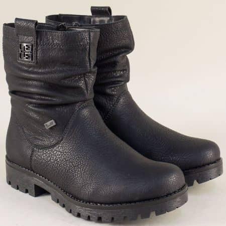 Дамски боти в черен цвят с топъл хастар на нисък ток 78571ch