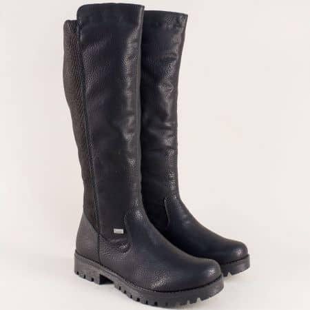 Швейцарски дамски ботуши на нисък ток в черен цвят 78590ch
