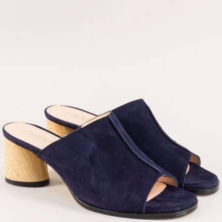 Велурени дамски чехли с кожена стелка в тъмно синьо 789vs