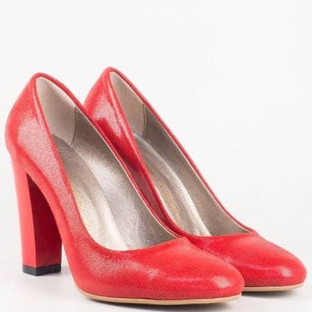 Дамски елегантни обувки със семпла визия на висок ток в червен цвят 78chv