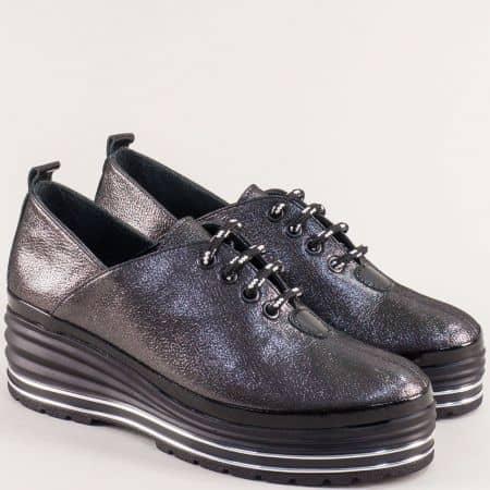 Черни дамски обувки от естествена кожа и сатен на платформа 791sch
