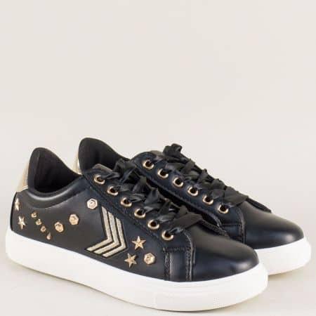 Спортни дамски обувки в черен цвят със сатенени връзки 796ch