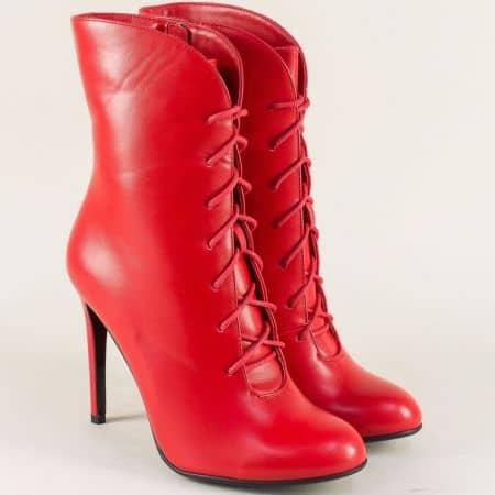 Червени дамски боти на висок ток с цип и връзки  797156chv