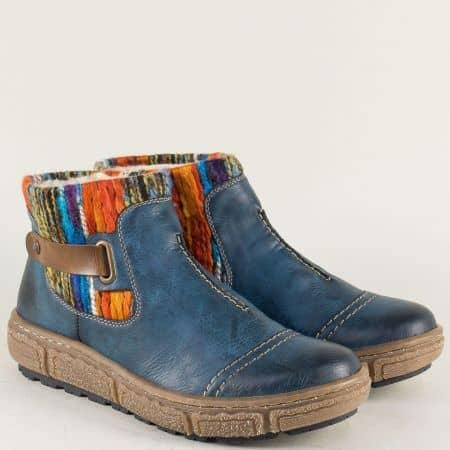 Равни дамски боти в син цвят на каучуково ходило- Rieker 7984s