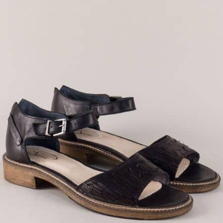 Български дамски сандали в черен цвят с кожена стелка 7fl1ch