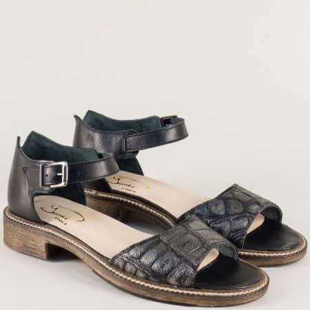 Кожени дамски сандали с кроко принт в черно и бронз 7fl1chbrz