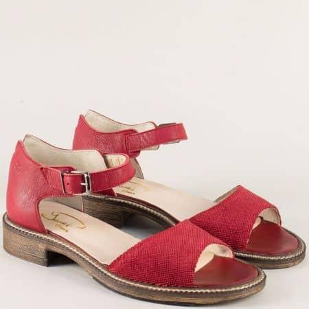 Червени дамски сандали със затворена пета на нисък ток 7fl1chv1
