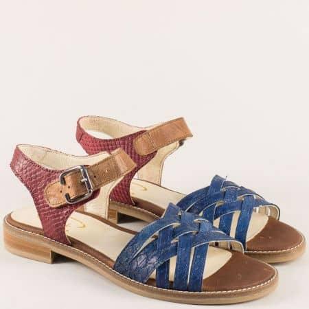 Дамски сандали на нисък ток в кафяво, синьо и бордо 7fl2ps