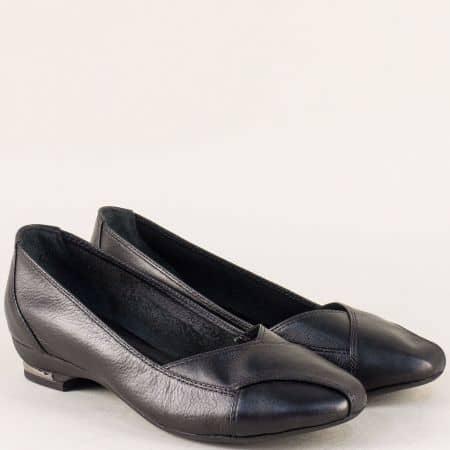 Черни дамски обувки на нисък ток от естествена кожа 8003ch