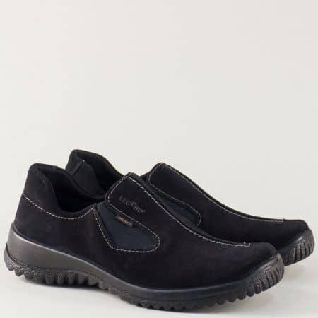 Дамски обувки- Legero от естествен велур в черно на ортопедично ходило 800568vch