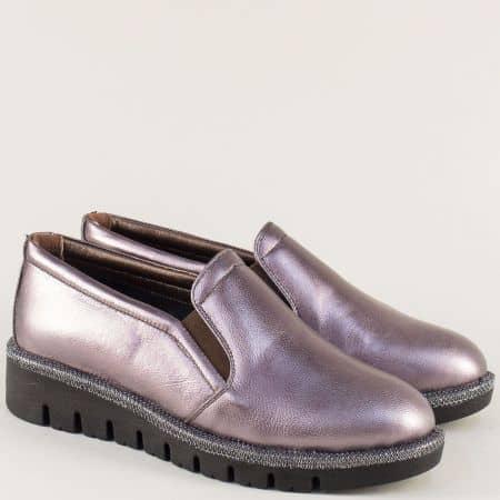 Бронзови дамски обувки на равно ходило от естествена кожа 8016brz