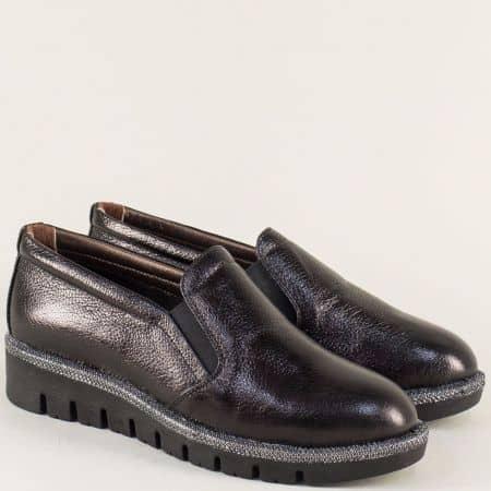 Черни дамски обувки на равно ходило с кожена стелка 8016ch