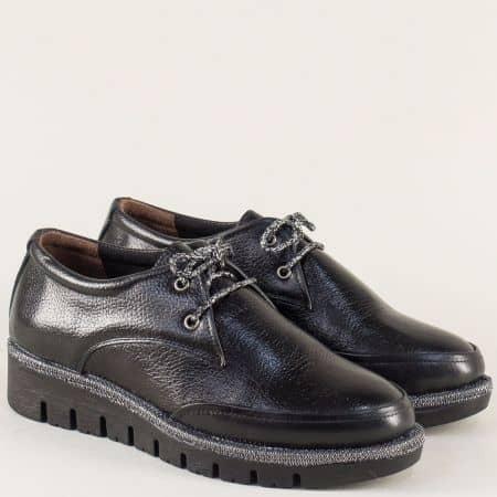 Равни дамски обувки с връзки от черна естествена кожа 8019ch