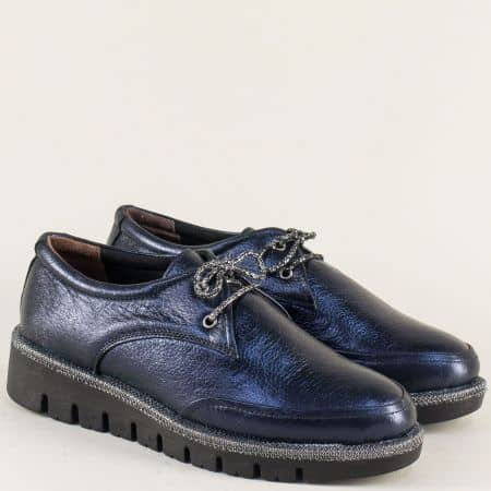 Ежедневни дамски обувки от естествена кожа в син цвят 8019s