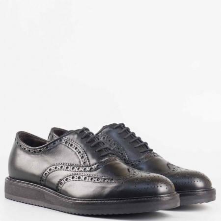 Мъжки комфортни обувки със сая от естествена кожа на италиански производител в черен цвят 80244201ch