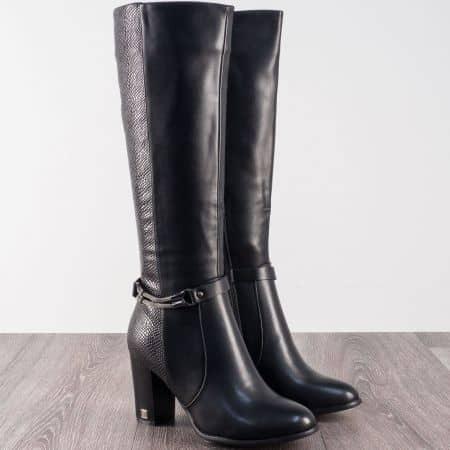 Ежедневни дамски ботуши на висок ток в черен цвят 8025127ch