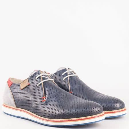 Български мъжки обувки- шити с естествена кожена стелка и връзки от синя естествена кожа и естествен велур в сив цвят  8030s