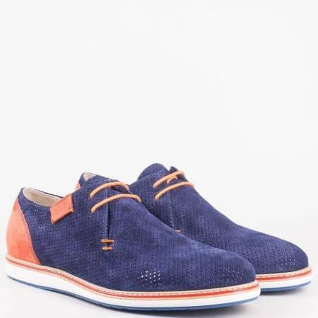 Шити мъжки обувки в оранж и синьо с кожена стелка и връзки- Navvi от естествена кожа и набук с перфорация 8030vs