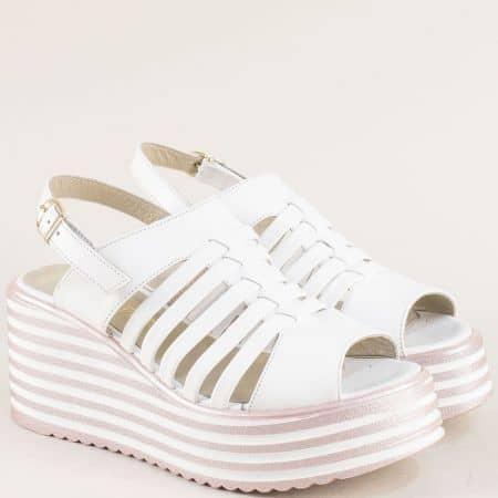 Бели дамски сандали на платформа от естествена кожа 80396506b