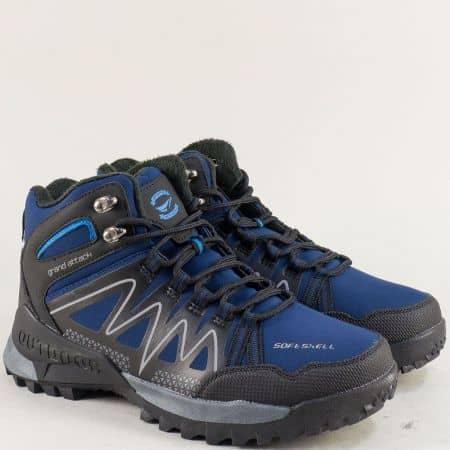 Спортни мъжки боти в синьо и черно- GRAND ATTACK 30605-45sch