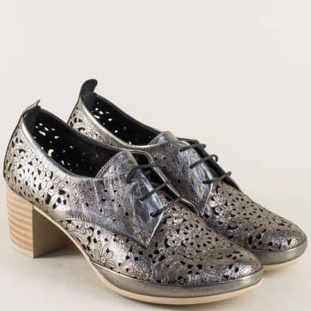 Бронзови дамски обувки на среден ток с перфорация 80855brz
