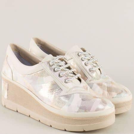 Бежови дамски обувки на платформа от естествена кожа 808bjps