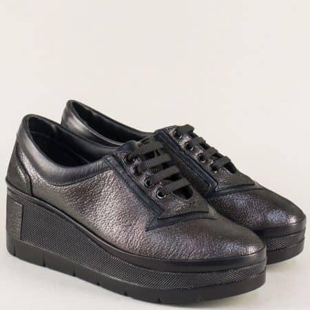 Бронзови дамски обувки с връзки от естествена кожа  808brz