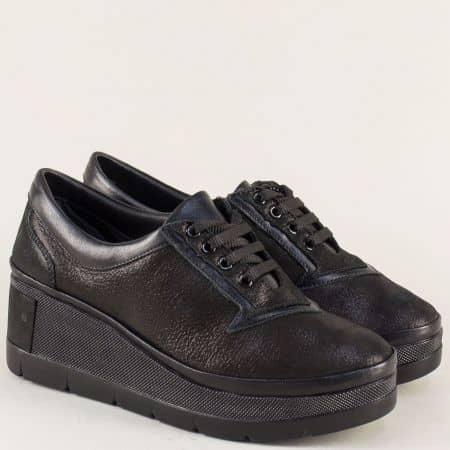 Черни дамски обувки от естествена кожа на платфома 808ch