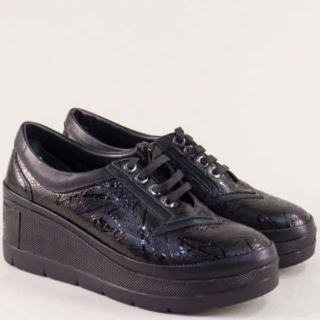 Спортни дамски обувки от естествена кожа на платформа в черен цвят 808ch1