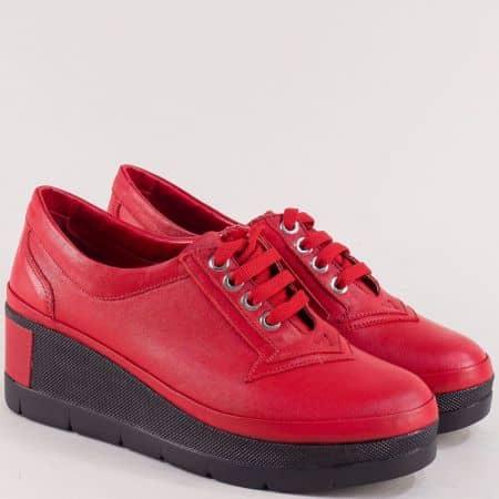 Кожени дамски обувки на платформа в червен цвят 808chv