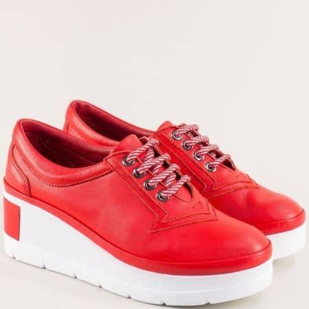 Червени дамски обувки от естествена кожа отвън и отвътре на платформа 808chvb
