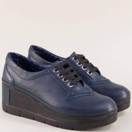 Тъмно сини дамски обувки с връзки и кожена стелка 808s