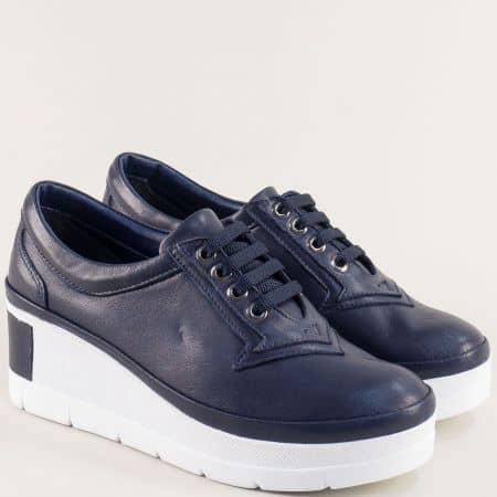 Сини дамски обувки с кожена стелка на бяла платформа 808sb